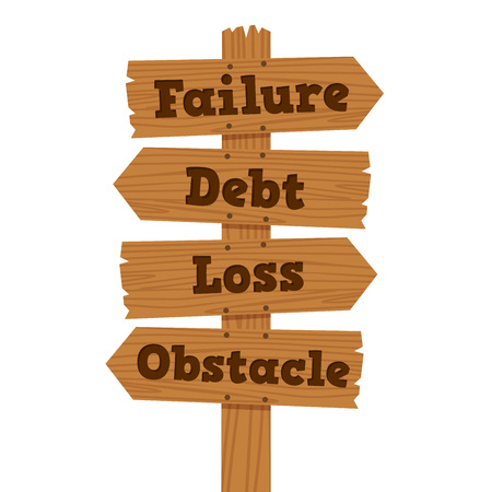 Vector illustration of failure, debt, loss, and obstacle on wooden road sign