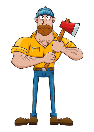 Vector illustration of a serous looking lumberjack character holding an axe