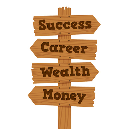 Vector illustration of success, career, wealth, and money on wooden road sign