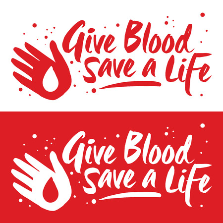 Vector illustration of blood donor sign, give blood save a life banner Ilustrace