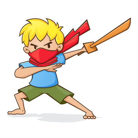 Vector illustration of a boy holding wooden sword, playing as ninja