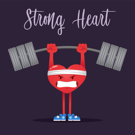 Vector illustration of a strong heart character doing weight lifting