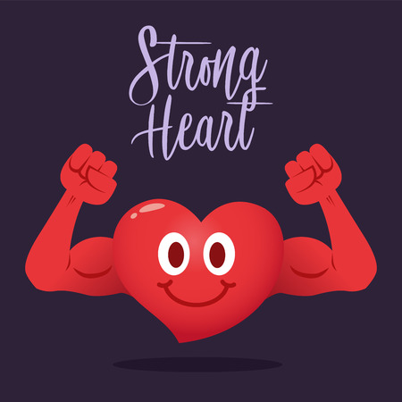 Vector illustration of a strong heart character with muscular arm