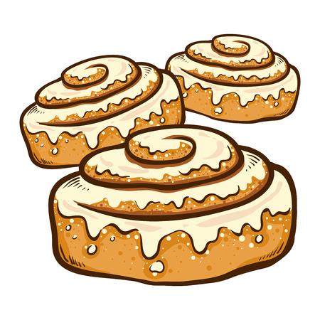 Illustrazione vettoriale di un disegno a mano panino alla cannella con glassa Vettoriali