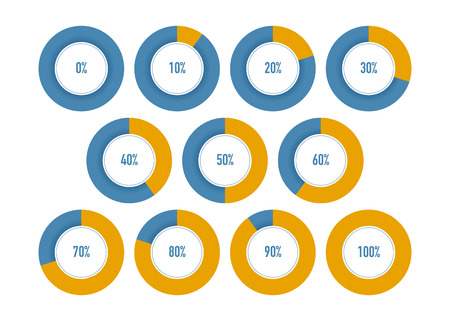 Set of round progress graphic diagram with percentages and progress