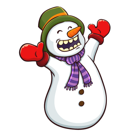 Vector illustration of a cute happy snowman, isolated on a white background Stock Illustratie