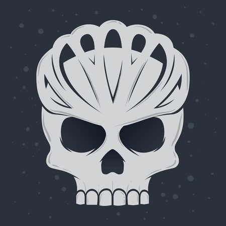 Vector illustration of skull wearing bicycle helmet, danger cyclist symbol