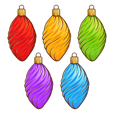 Colorful Christmas decoration set isolated on white background, hand drawing vector illustration