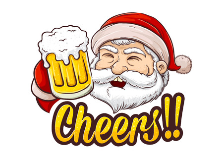 Santa Claus holding glass of beer saying cheers, Christmas background vector illustration