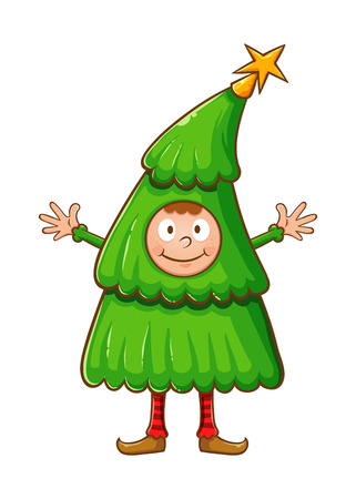 Young kid wearing christmas tree costume, vector illustration