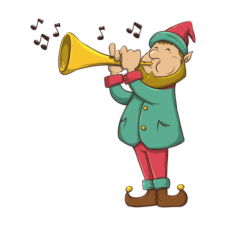 Christmas Elf playing trumpet music instrument, vector illustration