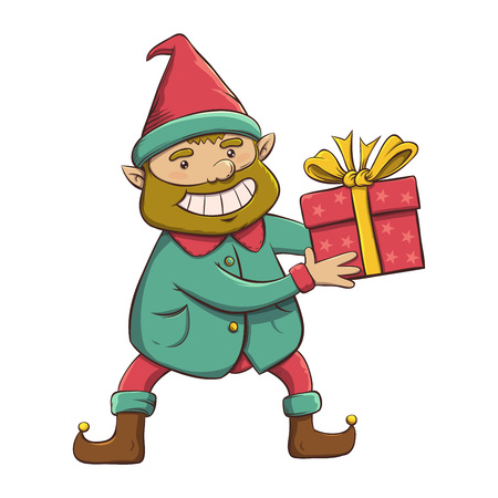 Christmas Elf happy character holding gift, vector illustration Ilustrace