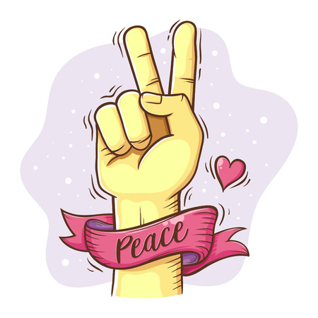 Peace love sign and symbol with hand gesture and ribbon, vector illustration Ilustrace