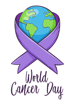 World cancer day sign and symbol with ribbon and planet earth, vector illustration Ilustrace