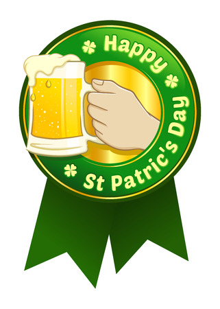 Emblem and ribbon for St. Patric's day with hand holding beer, vector illustration