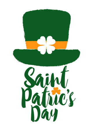 Lettering for St. Patric's day with green top hat silhouette, vector illustration
