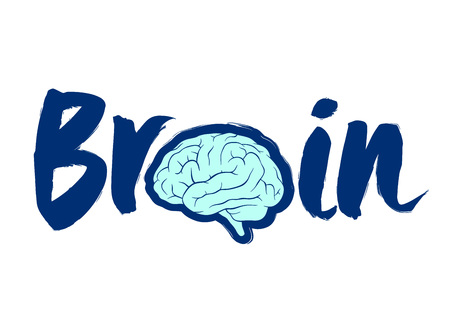 Brain custom text and lettering typography, vector illustration
