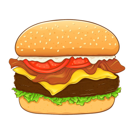 Delicious hamburger with cheese and bacon isolated on white background, hand drawing vector illustration