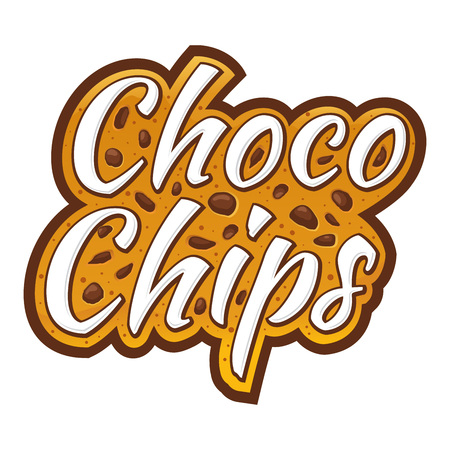 Choco chips lettering logo custom typography with chocolate chunks, vector illustration Ilustrace