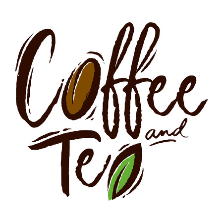 Coffee and tea custom text typography logo, vector illustration Ilustrace