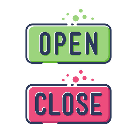 Vector stock of colorful modern open and close store sign flat icon