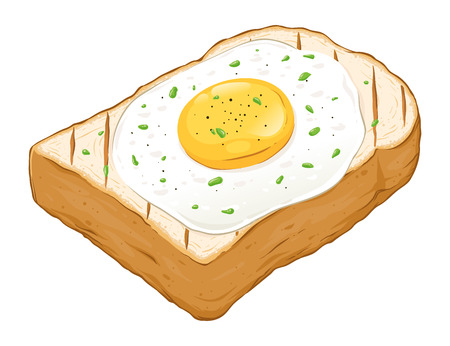 Fried egg on top of toast bread hand drawn vector illustration, isolated on white background