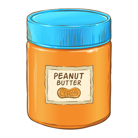Jar of delicious peanut butter, hand drawn vector illustration isolated on white background