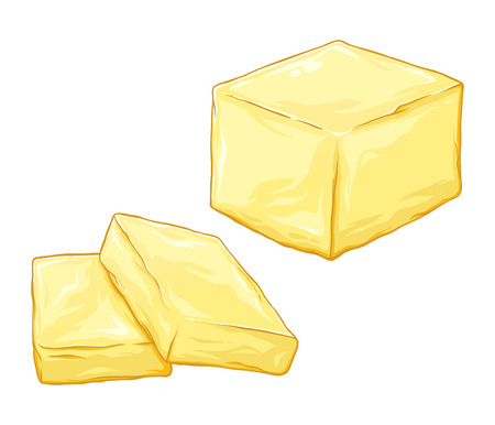 Stick of butter sliced and chopped drawn vector illustration, isolated on white background