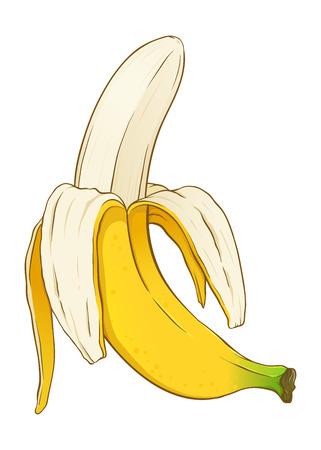 Banane à moitié pelée prête à manger, illustration vectorielle dessinés à la main Vecteurs