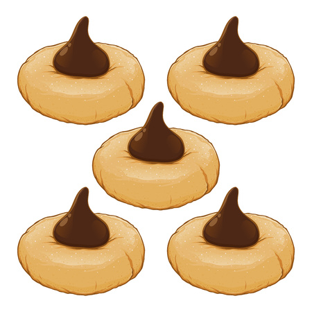 Cookies topped with chocolate cream, hand drawn vector illustration
