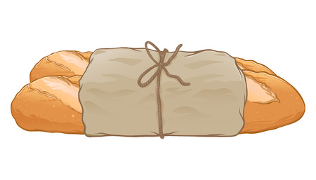 Fresh baguette wrapped in paper hand drawn, vector illustration isolated on white background