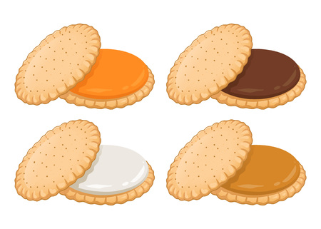 Sandwich cookies filled with various cream flavor, hand drawing vector illustration