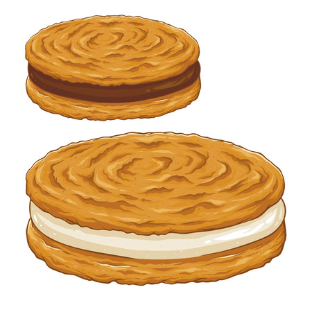 Sandwich cookies filled with chocolate and vanilla cream, hand drawing vector illustration