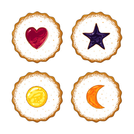 Biscuits topped with various flavored jam and icing sugar, hand drawn vector illustration  イラスト・ベクター素材