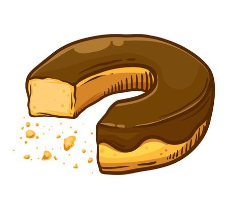 Gegessener Donut mit Schokoladengeschmack mit verstreuten Krümel, Handzeichnungsvektorillustration