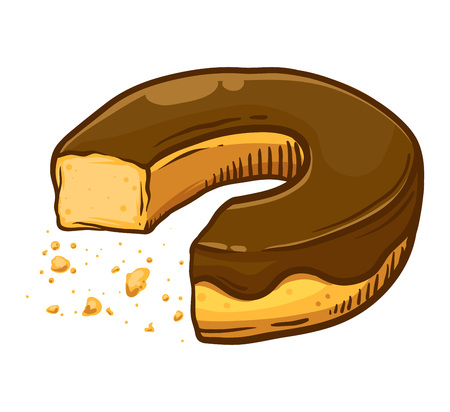 Eaten chocolate flavored donut with scattered crumb, hand drawing vector illustration