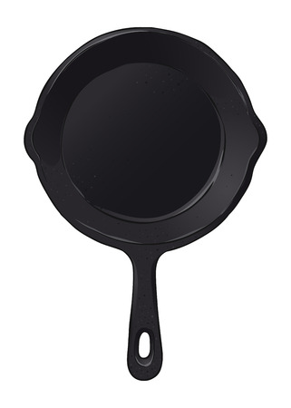 Black iron cast skillet frying pan, hand drawn vector illustration isolated on white background