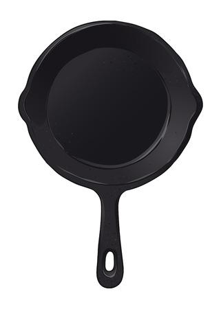 Zwarte gietijzeren koekenpan koekenpan, met de hand getekende vectorillustratie geïsoleerd op een witte achtergrond