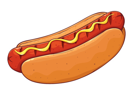 Delicious classic american hot dog with mustard, hand drawn vector illustration isolated on white background Иллюстрация