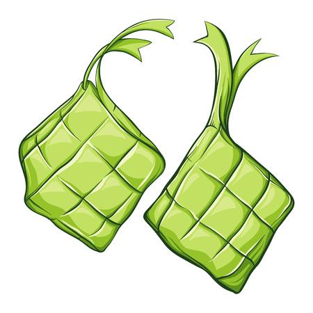 Ketupat asian traditional rice dumplings, hand drawn vector illustration 일러스트