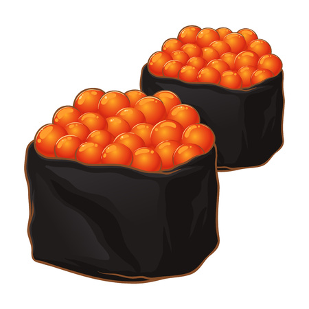 Two delicious salmon roe sushi wrapped in seaweed, salmon egg roll sushi Japanese food, hand drawn vector illustration