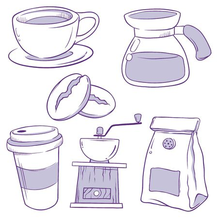 Set of coffee tools icon, hand drawn doodle vector illustration