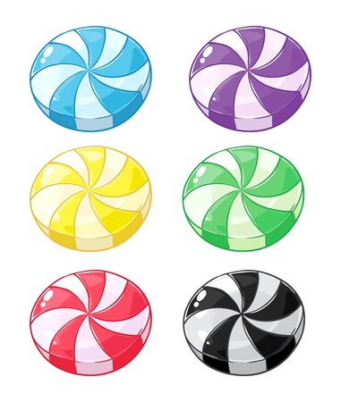 Collection of striped hard candy in various flavor, vector illustration