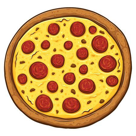 Dibujado a mano pizza de pepperoni aislado sobre fondo blanco, ilustración vectorial Ilustración de vector