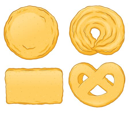Danish butter cookies hand drawn vector illustration, isolated on white background