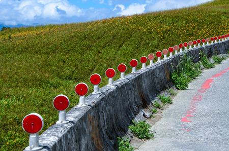 Road fence, landscape, Guardrail Stock Photo
