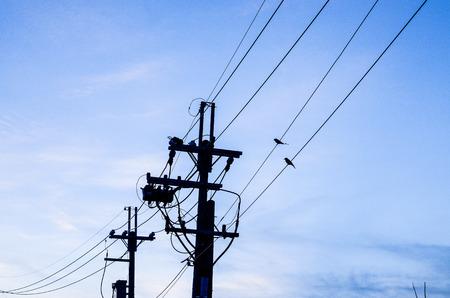 telephone pole cable Stock Photo