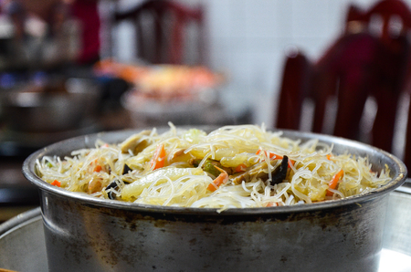 Fried rice noodles or Rice Vermicelli Stock Photo