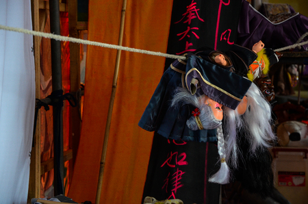 Taipei, Taiwan - NOV 05, 2017: Glove puppetry stage in Taiwan Traditional Theatre Center.a type of opera using cloth puppets that originated during the 17th century in China. Foto de archivo - 102951672
