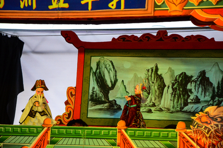 Taipei, Taiwan - NOV 05, 2017: Glove puppetry stage in Taiwan Traditional Theatre Center.a type of opera using cloth puppets that originated during the 17th century in China.